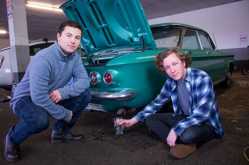 COURTESY: PORTLAND STATE UNIVERSITY - Blake Turner, mechanical engineering, and Sean Krivonogoff, business major, won the PSU Clean Tech Challenge for inventing a kit for coonverting gas cars to hydrogen powered ones.