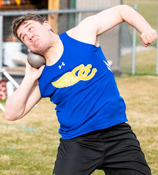 LON AUSTIN/CENTRAL OREGONIAN - Tyler Humeston throws the shot put 46-03 to win the event at Summit on Wednesday. Humeston also placed in the discus and the javelin. CCHS competes at the Prefontaine Rotary Invitational on Saturday.