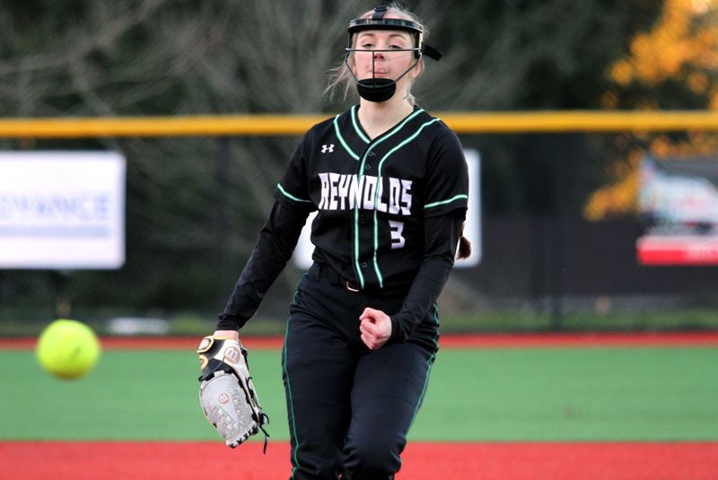 PMG PHOTO: MILES VANCE - Reynolds pitcher Hailey Burmeister and the third-ranked Raiders will try to extend their unbeaten streak to 13 games today when they host Sandy at 4:30 p.m.