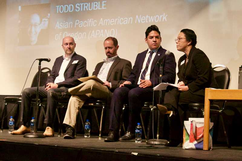 PMG PHOTO: CHRISTOPHER KEIZUR - From left, Josh Fuhrer, Andy Miller, Councilor Eddy Morales and Commissioner Lori Stegmann all spoke during an economic forum.