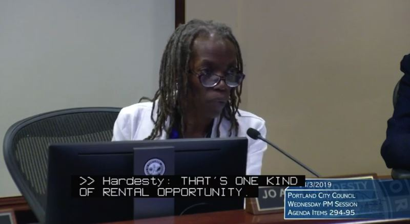 SCREENSHOT - Portland Commissioner Jo Ann Hardesty speaks during an earlier portion of the city hall rental hearing on April 3.