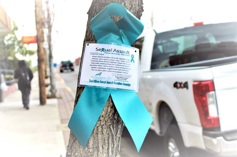 JENNIFFER GRANT/ MADRAS PIONEER - Saving Grace has placed teal ribbons around Madras in an effort to bring more attention to Sexual Assault Awareness Month, which is observed every April.