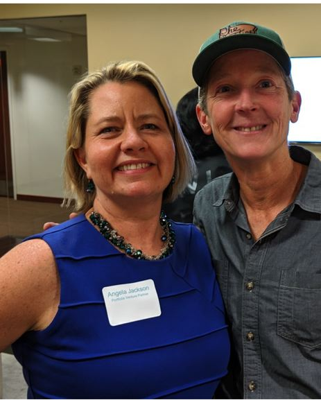PMG: JOSEPH GALLIVAN - Former Nike executive Kate Delhagen (right), the founder of Oregon Sports Angels has invested already in Portfolia's seventh fund, called FirstStep. Here she is with Angela Jackson at a meet and greet of mostly women potential investors and entrepreneurs.