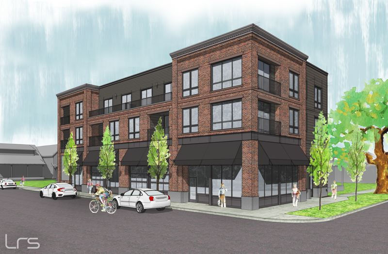 COURTESY: LRS ARCHITECTS - A three-story mixed-use building planned for Sherwoods downtown historic district will feature finished concrete, brick and lap siding. In keeping with the character of the area, which locals call Smockfille, the building features details that include horizontal brick banding, corbelled brick courses and an ornamental cornice.