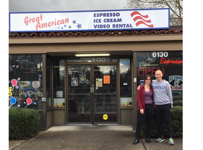 COURTESY PHOTO - Kent and Sam McCarty run Great American Video and Expresso store in Milwaukie, an environmentally conscious business.