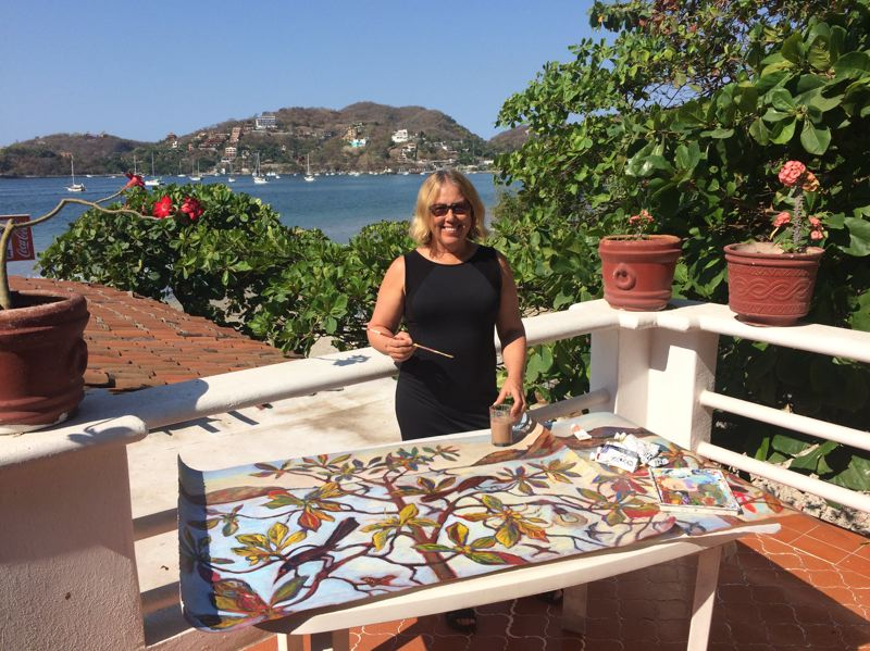 COURTESY: KIM OSGOOD - Kim Osgood usually carries along painting supplies on her climbs, but she also finds inspiration from her visits to Zihuatanejo, Mexico. Says her husband, Mike Roach: 'She's proud to be an artist for so many years.'