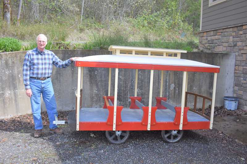 PMG PHOTO: EMILY LINDSTRAND - Gene Fabryka of Viola is working on a children's trolley for the Powerland Heritage Park in Brooks.