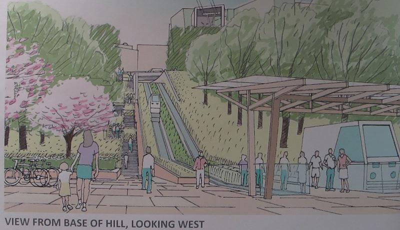 COURTESY TRIMET - This illustration shows the funicular/inclined elevator elevator option for reaching Marquam Hill from Southwest Barbur Boulevard.