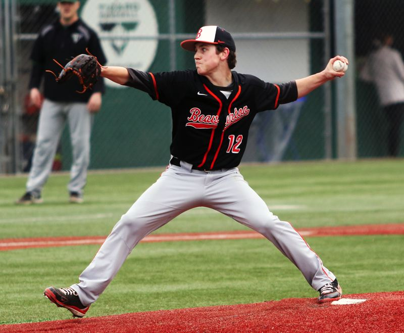 PMG PHOTO: DAN BROOD - Beaverton High School junior Kellen O'Connor gets ready to fire a pitch to the plate during the Beavers' 5-4 win at Tigard on Tuesday.
