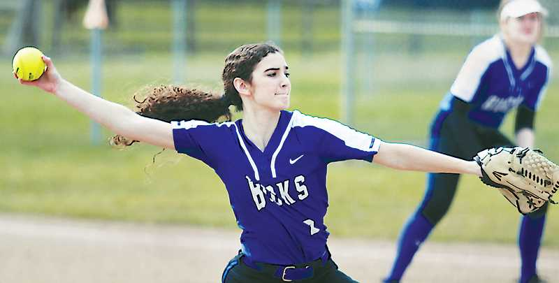 WOODBURN INDEPENDENT PHOTO: PHIL HAWKINS - St. Paul senior Rachel Vela pitched a complete game and was two-for-four with two runs scored and an RBI in the Bucks' 7-6 win over No. 8 Vernonia.