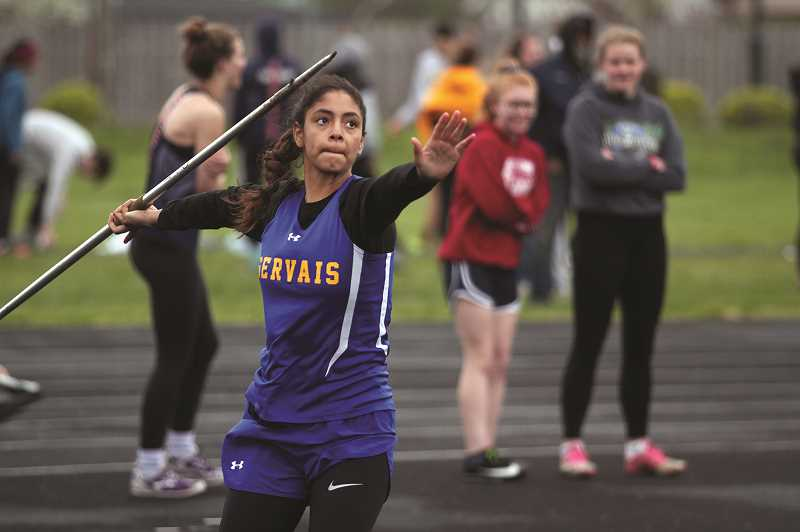 PMG PHOTO: PHIL HAWKINS - Gervais sophomore Araceli Vasquez placed second in the javelin with a mark of 96-01 in a duel with Kennedy's Caitlyn Kleinschmit.