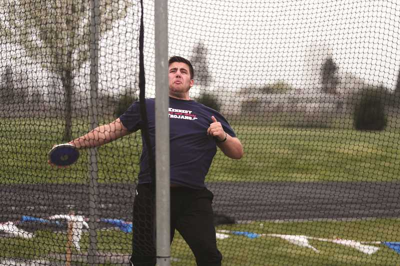 PMG PHOTO: PHIL HAWKINS - Kennedy senior Nick Suing took second place in both the discus and shot put at Gervais.