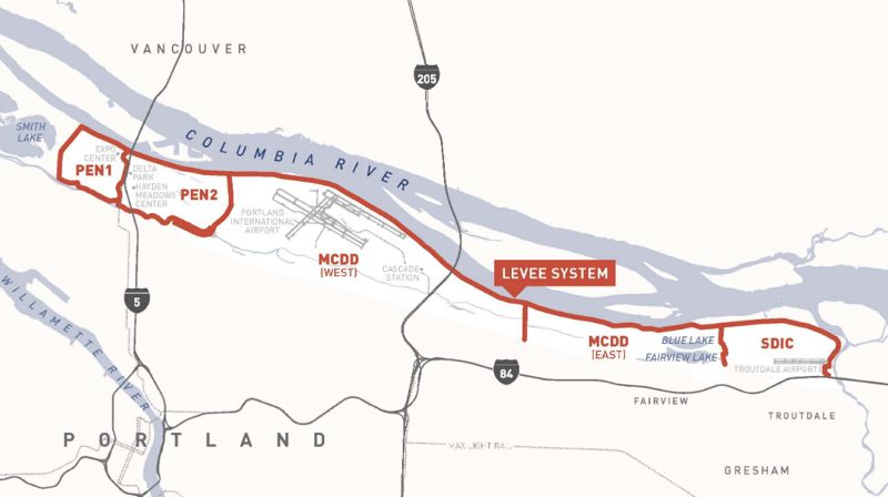 COURTESY LEVEE READY COLUMBIA - The risk of Columbia River flooding is highest in Pen 1, where the Portland Expo Center is located, according to a new study.