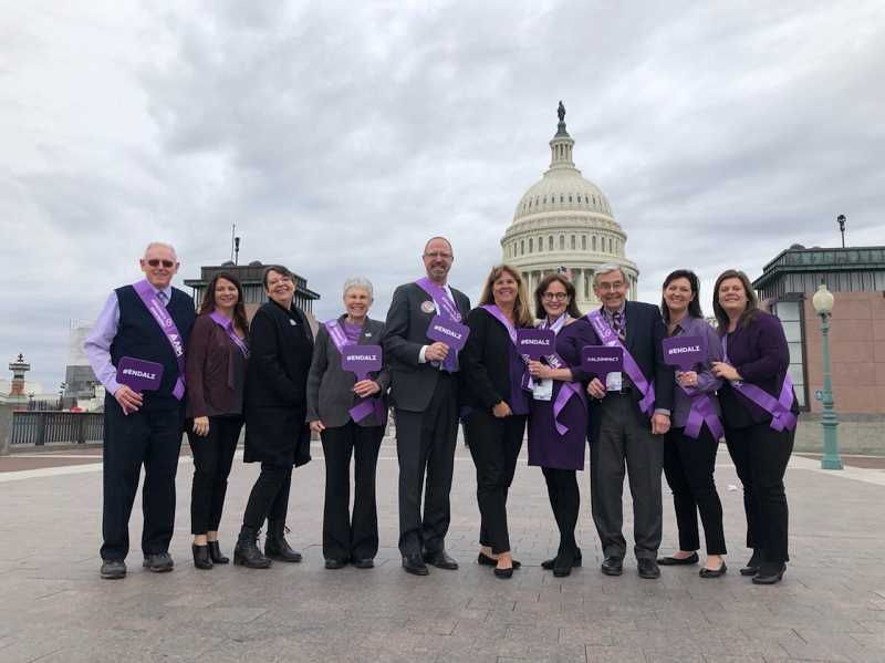 Oregonians traveled to Washington D.C. to speak with legislators about funding research and support programs for those with Alzheimers. The response was positive and bipartisan, as everyone is affected by the disease.