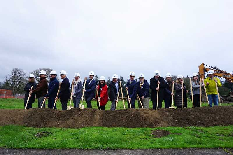 PMG PHOTO: CLAIRE HOLLEY - Staff from the City of Lake Oswego, the Lake Oswego School District, Lakeridge Middle School and more participated in the groundbreaking ceremony.