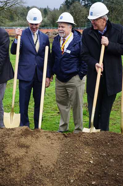PMG PHOTO: CLAIRE HOLLEY - Left to right: Lakeridge Middle School principal Kurt Schultz, LOSD Superintendent Michael Musick, and City Councilor John Wendland (formerly a member of the school board) at the groundbreaking ceremony.