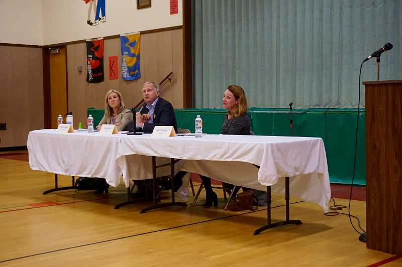 PMG PHOTO: CLAIRE HOLLEY - School board candidates Kelly Calabria, John Wallin and Kirsten Aird at the LOSN and River Grove PTO-hosted forum.