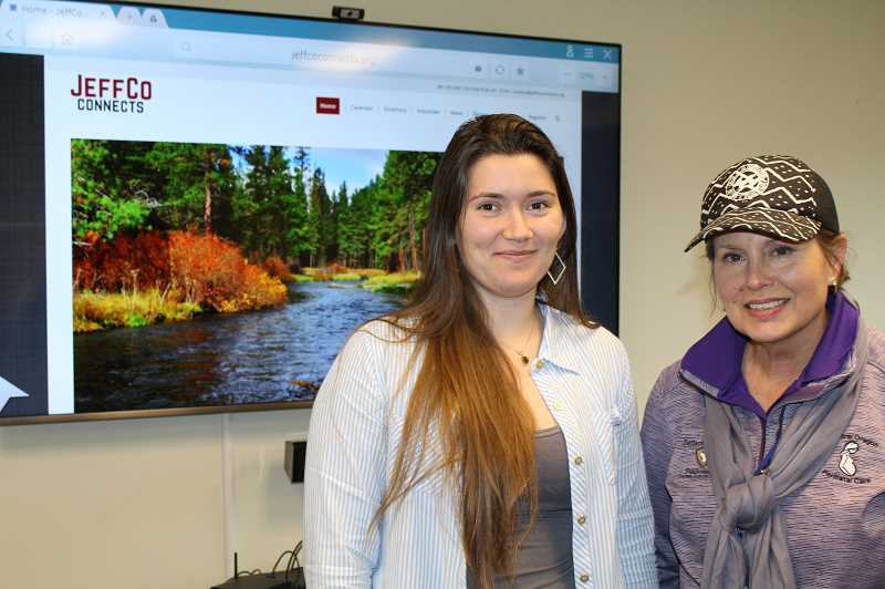 HOLLY M. GILL/MADRAS PIONEER - Americorps volunteer Courtney Barks, left, and Beth Ann Beamer, both with the Jefferson County Health Department, play key roles in the new outreach program the department is undertaking. Beamer is heading up the project.