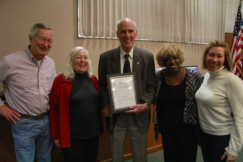 REVIEW PHOTO: SAM STITES - Ross Fearey, Ester Halvorson-Hill, Mayor Kent Studebaker, Willie Poinsette and Janice Shokrian pose for a photo after the City Council approved a proclomation celebrating seniors and endorsing The Event.