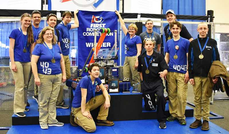 SUBMITTED PHOTO - The NerdHerd robotics team won its first-ever competition at Lake Oswego last month.