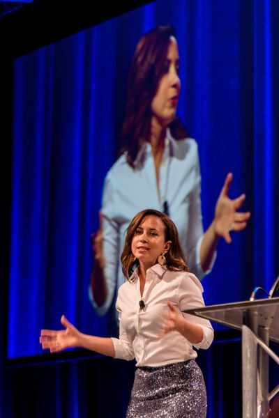 COURTESY: JASON DESOMER/TAO - Katie Bullard, president and chief growth officer of DiscoverOrg, as the emcee at the 2019 Oregon Technology Awards on April 17 at the Oregon Convention Center.