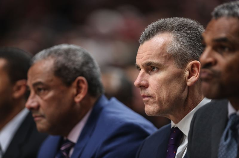 PMG PHOTO: CHRISTOPHER OERTELL - The Oklahoma City coaching staff and head man Billy Donovan (second from right) watch as the Thunder lose in the NBA playoffs at Portland.