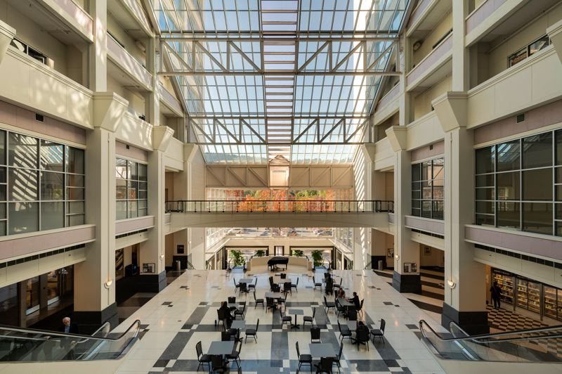 COURTESY: UNICO PROPERTIES - A highlight of the Montgomery Park main building is a full-height glass atrium in the center of an 804000-square-foot, U-shaped floorplate.