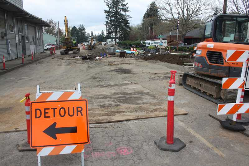 PMG PHOTO: JUSTIN MUCH - First Street Improvement is going full tilt. City of Woodburn stresses that the work will not disrupt annual downtown events or daily activity.