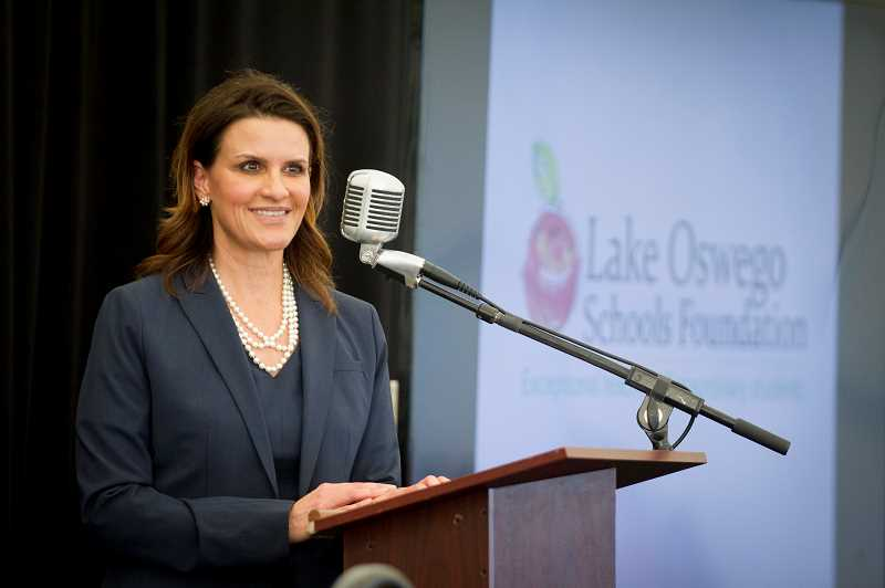 PMG FILE PHOTO: JAIME VALDEZ - Lora de la Cruz speaking at the 2019 LO Schools Foundation luncheon in January.