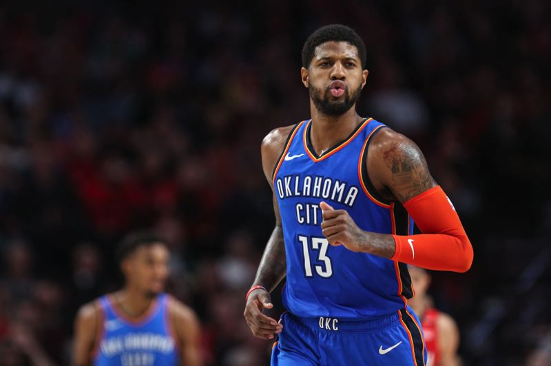 COURTESY PHOTO: DAVID BLAIR - Paul George's last-second dunk capped a physical, testy Game 3 won by the Oklahoma City Thunder over the visiting Trail Blazers on Friday night.