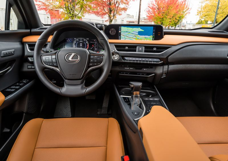 TOYOTA MOTOR SALES - The interior of the 2019 Lexus UX 200 F Sport is quiet, comfortable and luxurious. The styling is both modern and retro, like all of the company vehicles.