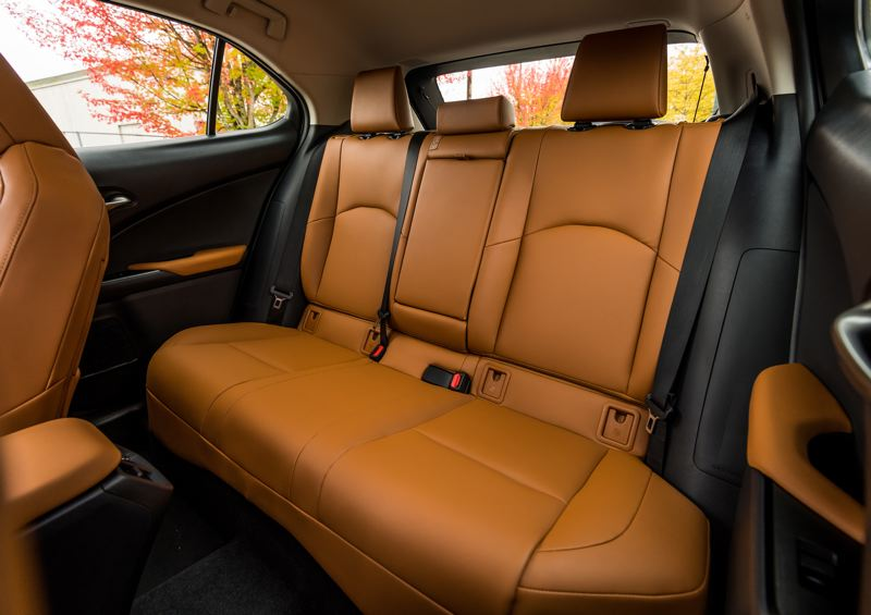 TOYOTA MOTOR SALES - Like all subcompacts, rear seat room is a little tight in the 2019 Lexus UX 200 F Sport.
