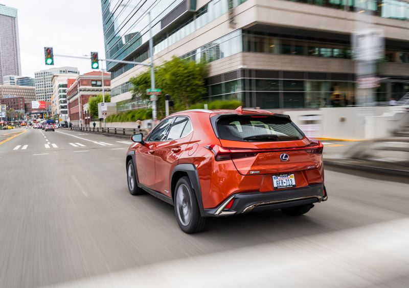 TOYOTA MOTOR SALES - The aggressive exterior styling of the 2019 Lexus UX 200 F Sport continues to the angular rear end.