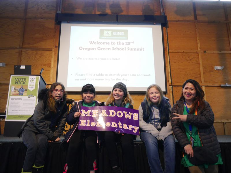 COURTESY PHOTO: JESSICA RAMEY, CITY OF GRESHAM  - Representatives from Meadows Elementary School attended the Oregon Green Schools Summit in Sliverton earlier in April.