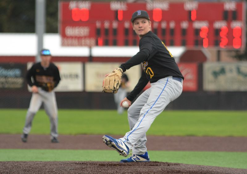PMG PHOTO: DAVID BALL - Barlow starter Ben Zimmerman winds up during the Bruins 5-3 road win at Clackamas on Saturday.