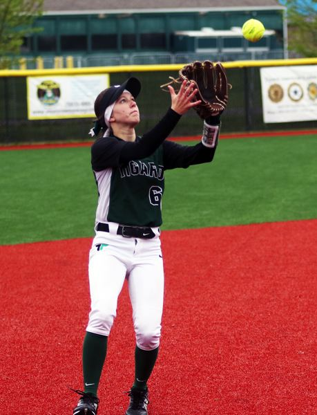 PMG PHOTO: DAN BROOD - Tigard senior shortstop Maddie Hoover catches a pop-up during the Tigers' 3-1 win over Tualatin on Saturday.