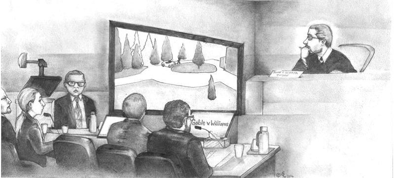 ILLUSTRATION BY SARA DEL ROSARIO - U.S. Magistrate Judge John Acosta watched an animation of the killing of Oregon Department of Corrections Director Michael Francke during a November 2016 appeal hearing with federal public defenders and state prosecutors.
