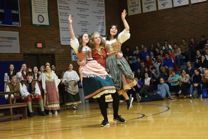 COURTESY PHOTO - La Salle Prep students Grace Winningham, Luke Wild and Alison Paguio perform a scene from Disney's 'Beauty and the Beast,' which will open April 26.
