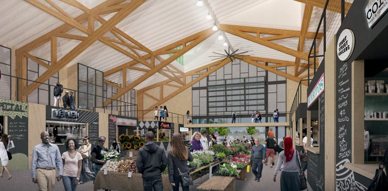 COURTESY: YBA ARCHITECTS - A public market on the Rockwood Rising grounds will feature 24 stalls for local food-focused businesses, many of which will receive support from nonprofit groups like Micro Enterprise Services of Oregon that also will be tenants in the development.