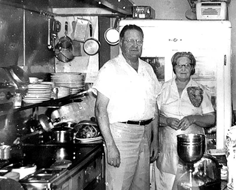 COURTESY OF DANIEL GAARD AND ROBERT ERICKSON  - Heres Jasper Shaw and his wife Betty, standing in the kitchen at Bertie Lous. Betty worked there for nearly 29 years, working the counter well into her late 70s. Her specialties were serving hot coffee and homemade pie - and taking no smart talk from any of the customers.