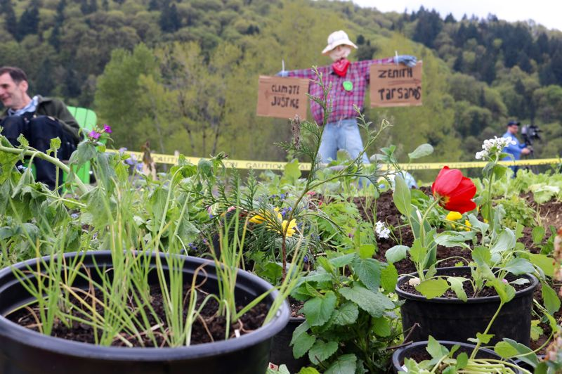 PMG PHOTO: ZANE SPARLING - The 'Victory over fossil fuels Garden' planted by Portland activists along train tracks leading to a Zenith Energy oil terminal is shown here on Sunday, April 21.