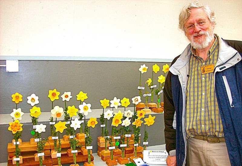 RITA A. LEONARD - Woodstock resident George Armantrout won several ribbons for his daffodils on display.