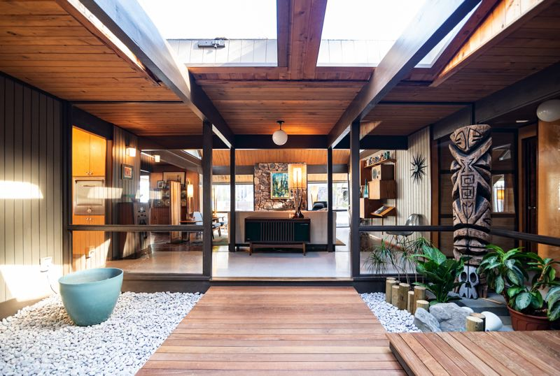 COURTESY PHOTO: TIMOTHY NIOU FOR RESTORE OREGON - Steve and Haley Lewis have painstakingly restored this Rummer-design home on Gresham Butte.