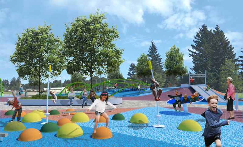 COURTESY ILLUSTRATION: LANGO HANSEN - Lynchview Parks 7.6 acres will include a super fun new playground.