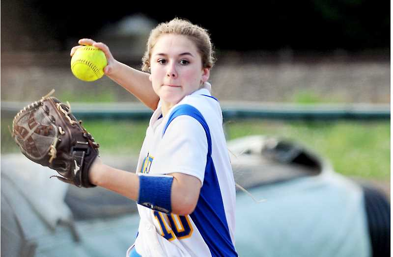GRAPHIC PHOTO: GARY ALLEN  - Sophomore shortstop Katy Evans is part of a young Newberg team that is steadily improving.