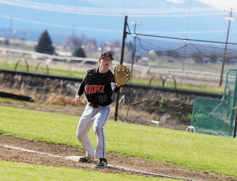 STEELE HAUGEN - Brody Little makes a catch at first base. The Bulldogs lost to the Santiam Wolverines twice, but beat Santiam in their third game 13-12 in the eighth inning. Culver in now 6-3 in league play.