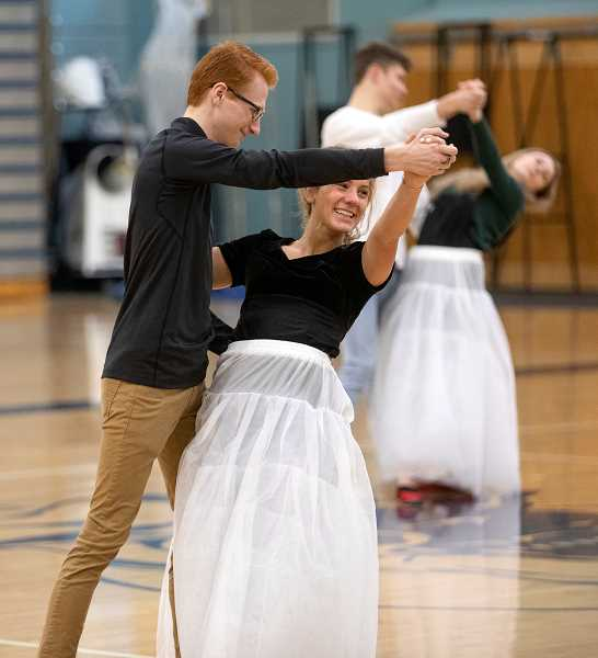 PMG PHOTO: JONATHAN HOUSE - Joseph Wilde and Lauren Dean practice a dance routine during Springfest rehearsal.