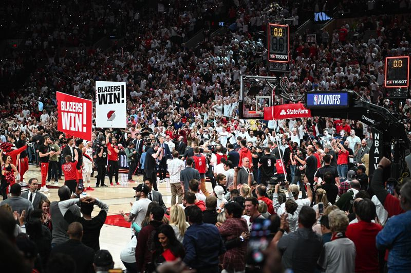 PMG PHOTO: CHRISTOPHER OERTELL - The crowd continues to go wild after the Trail Blazers' last-second, 118-115 victory over Oklahoma City on Tuesday at Moda Center.