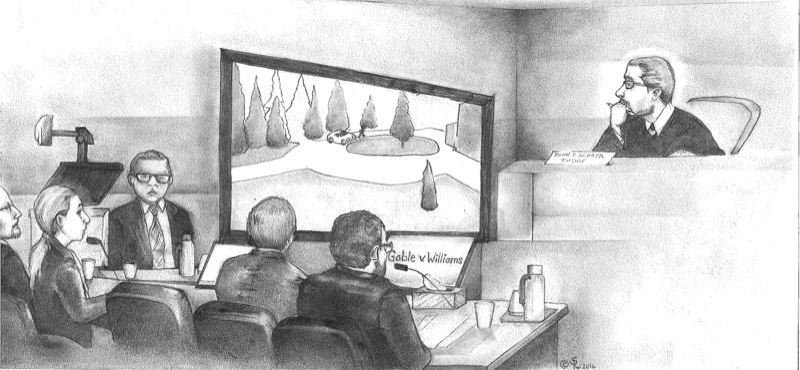 PMG FILE ILLUSTRATION - U.S. Magistrate Judge John Acosta watches an animation of the killing of Oregon Department of Corrections Director Michael Francke with federal public defenders and state prosecutors during an appeal hearing.