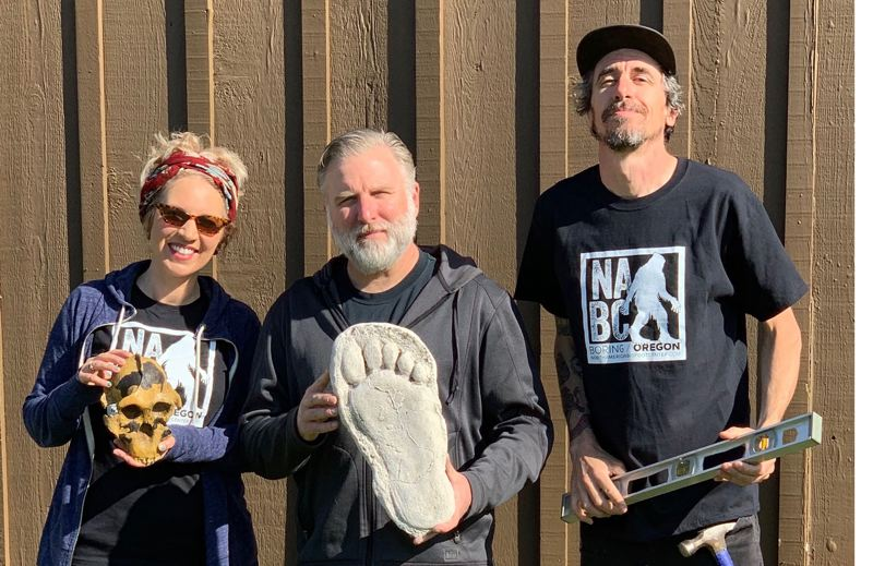CONTRIBUTED PHOTO - Melissa and Cliff Barackman and Scott 'Minty' Minton hope to open the North American Bigfoot Center on the old Ashley's property by June.